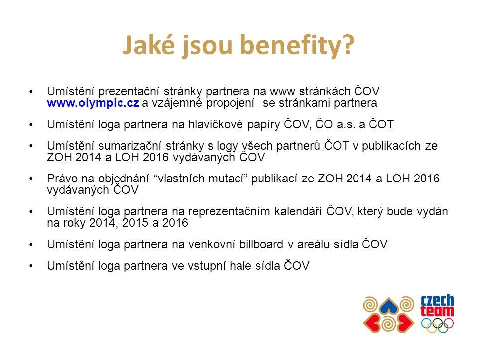 Jaké jsou benefity Umístění prezentační stránky partnera na www stránkách ČOV www.olympic.cz a vzájemné propojení se stránkami partnera.