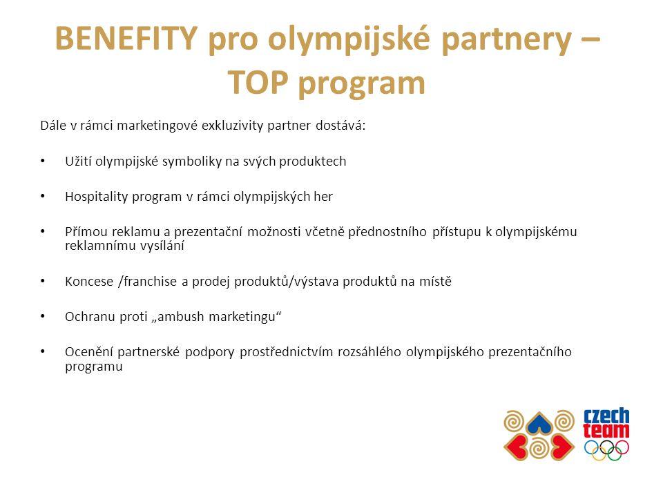 BENEFITY pro olympijské partnery – TOP program