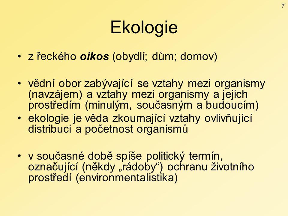 Ekologie z řeckého oikos (obydlí; dům; domov)