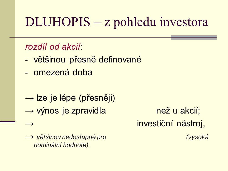 DLUHOPIS – z pohledu investora
