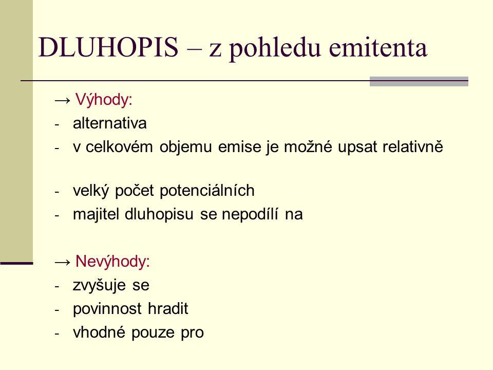 DLUHOPIS – z pohledu emitenta