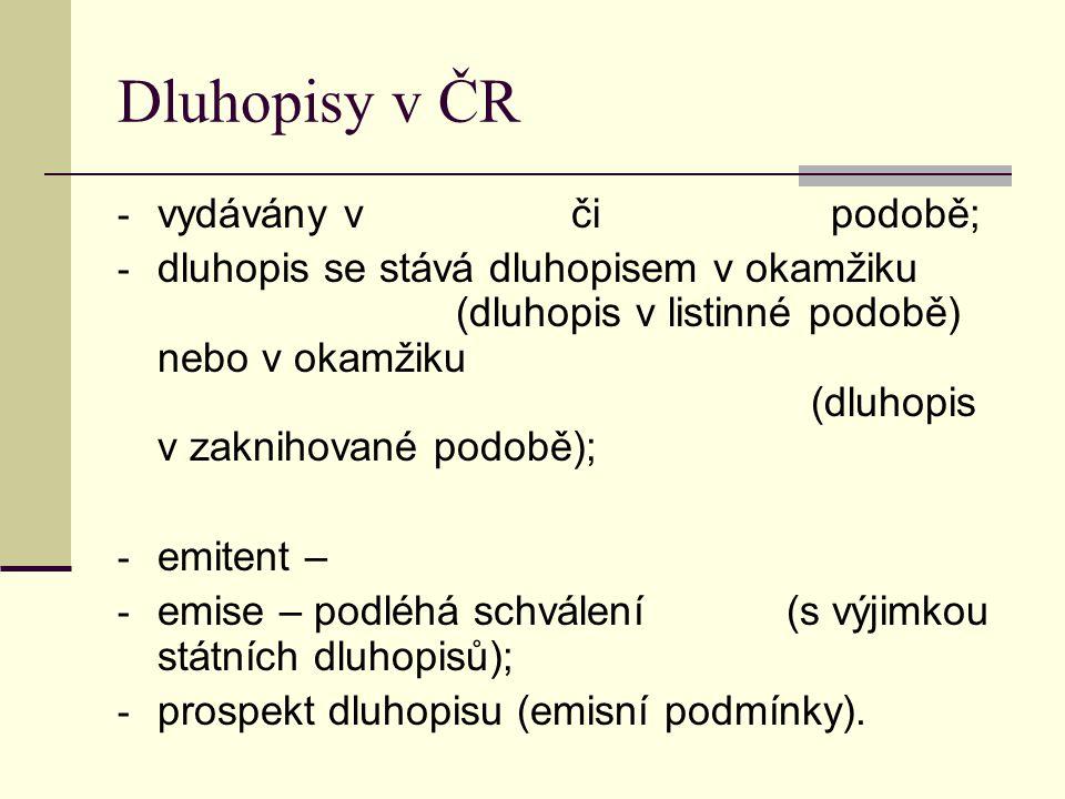 Dluhopisy v ČR vydávány v či podobě;