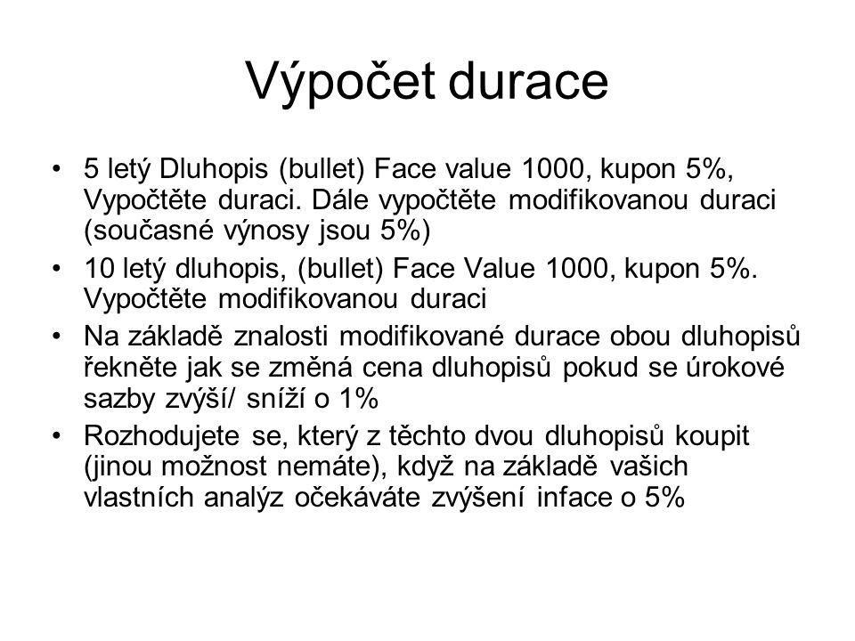 Výpočet durace 5 letý Dluhopis (bullet) Face value 1000, kupon 5%, Vypočtěte duraci. Dále vypočtěte modifikovanou duraci (současné výnosy jsou 5%)