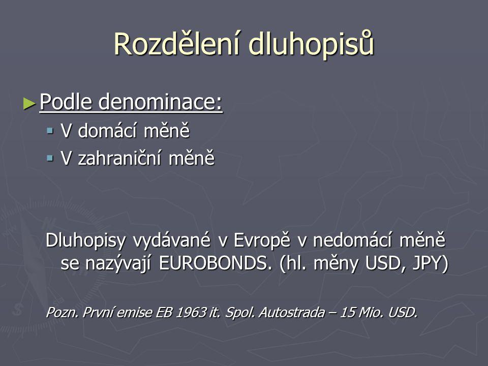 Rozdělení dluhopisů Podle denominace: V domácí měně V zahraniční měně