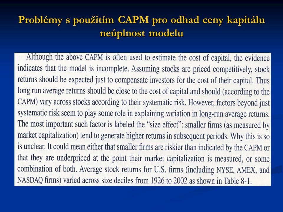 Problémy s použitím CAPM pro odhad ceny kapitálu neúplnost modelu