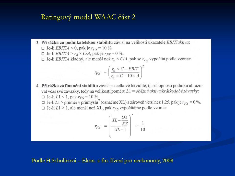Ratingový model WAAC část 2