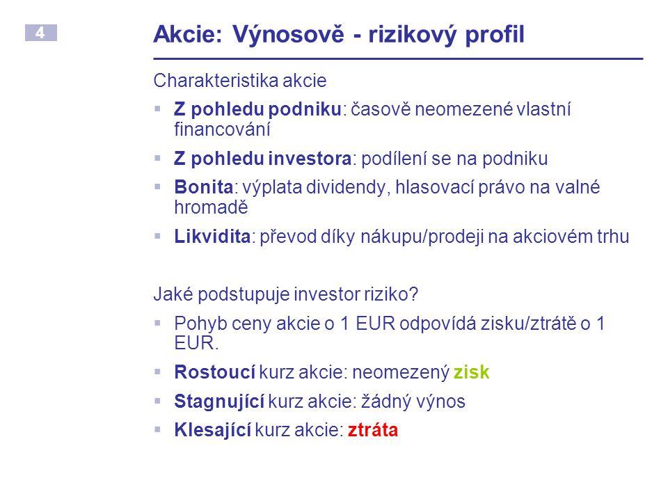 Akcie: Výnosově - rizikový profil