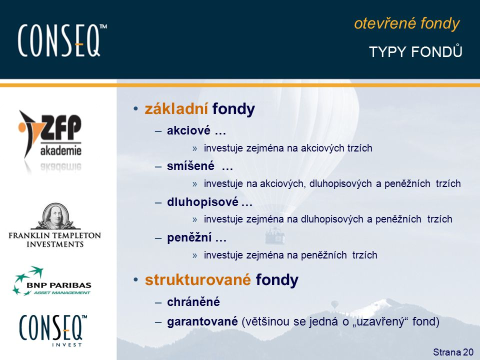 otevřené fondy základní fondy strukturované fondy TYPY FONDŮ akciové …