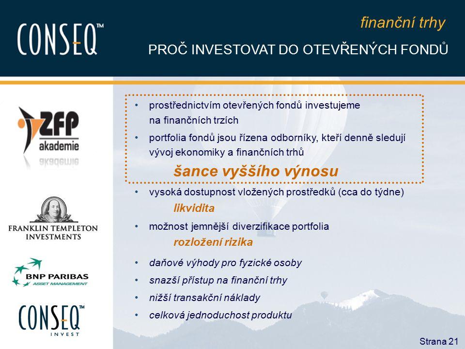 finanční trhy PROČ INVESTOVAT DO OTEVŘENÝCH FONDŮ