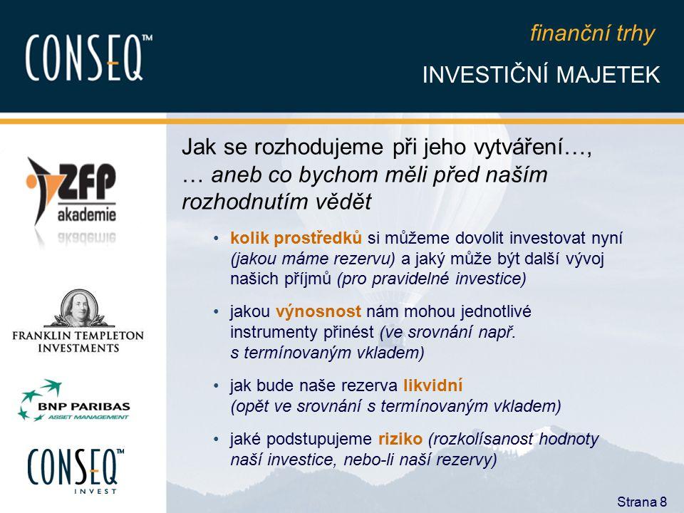 finanční trhy INVESTIČNÍ MAJETEK