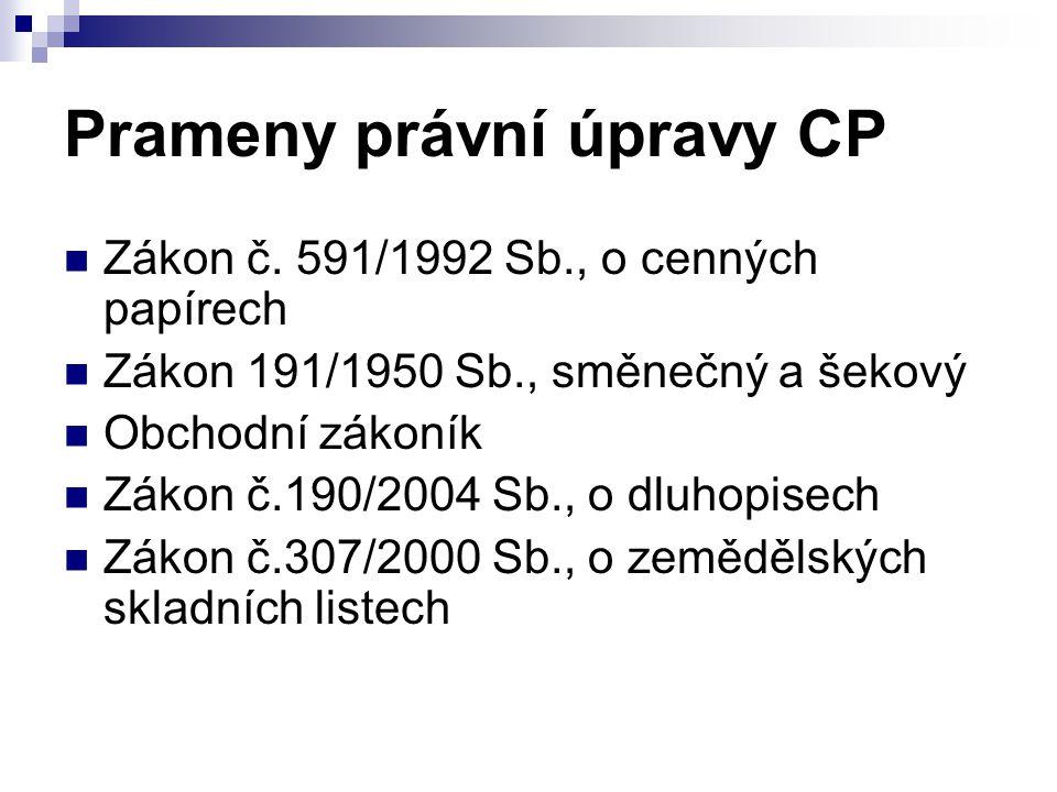 Prameny právní úpravy CP