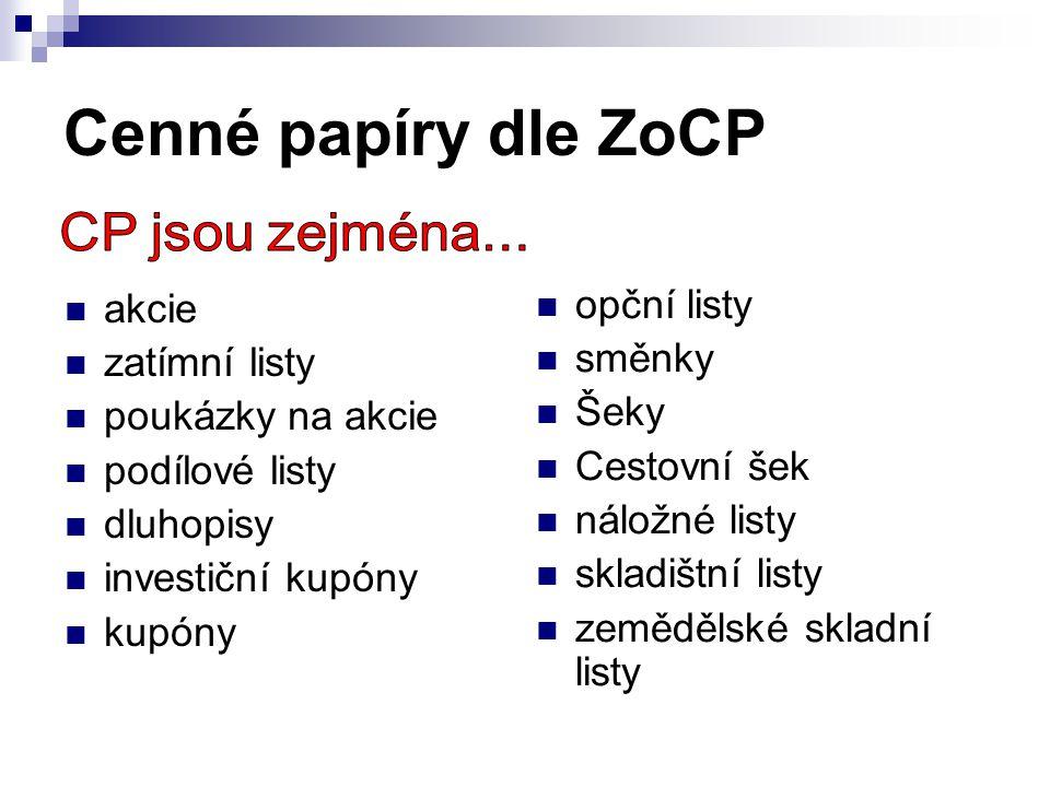 Cenné papíry dle ZoCP opční listy akcie směnky zatímní listy Šeky