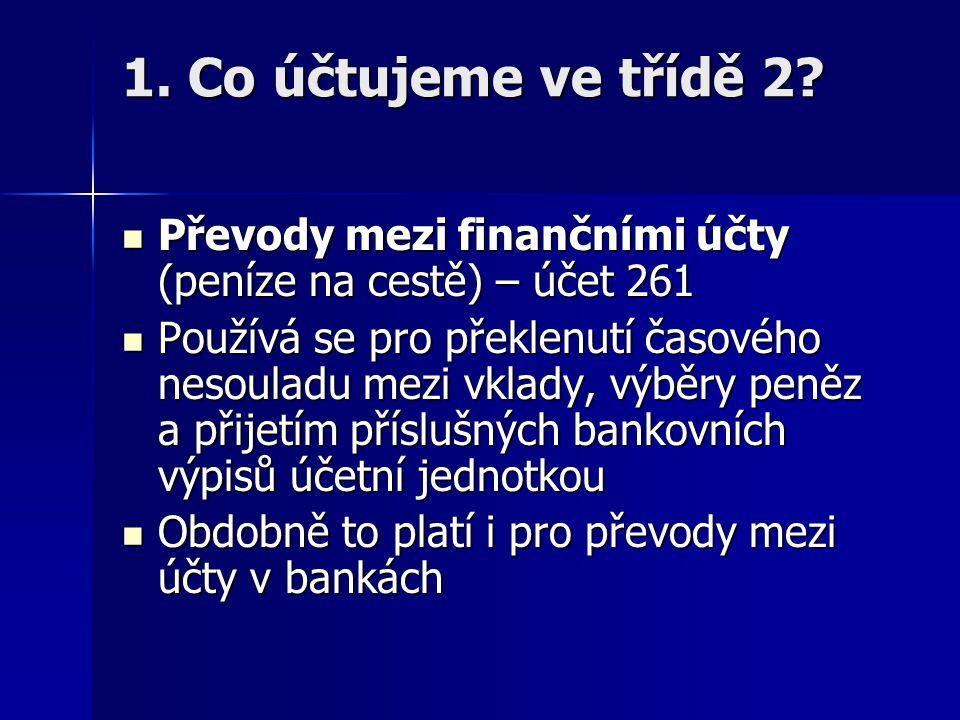 1. Co účtujeme ve třídě 2 Převody mezi finančními účty (peníze na cestě) – účet 261.