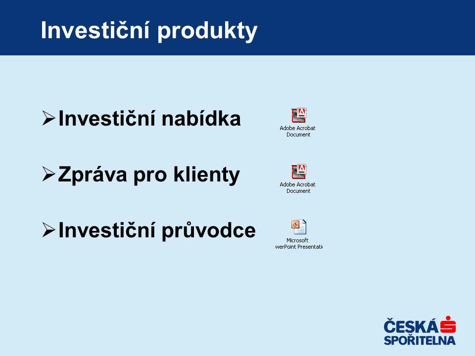 Investiční produkty Investiční nabídka Zpráva pro klienty