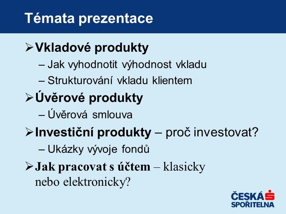 Témata prezentace Vkladové produkty Úvěrové produkty