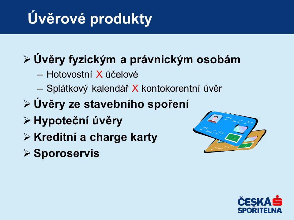 Úvěrové produkty Úvěry fyzickým a právnickým osobám