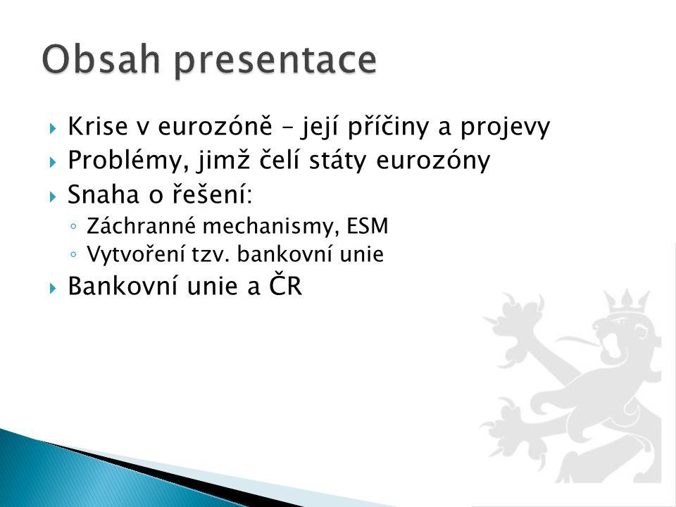 Obsah presentace Krise v eurozóně – její příčiny a projevy