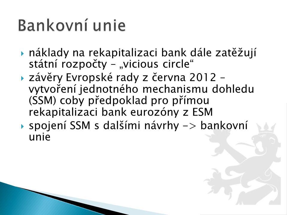 """Bankovní unie náklady na rekapitalizaci bank dále zatěžují státní rozpočty – """"vicious circle"""