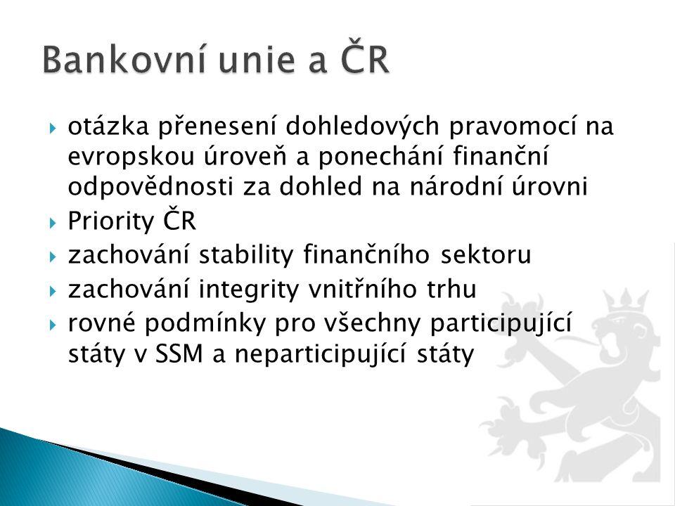Bankovní unie a ČR otázka přenesení dohledových pravomocí na evropskou úroveň a ponechání finanční odpovědnosti za dohled na národní úrovni.
