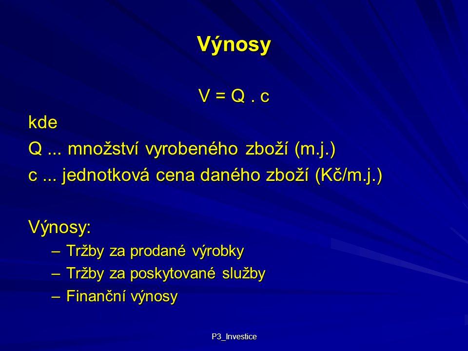 Výnosy V = Q . c kde Q ... množství vyrobeného zboží (m.j.)