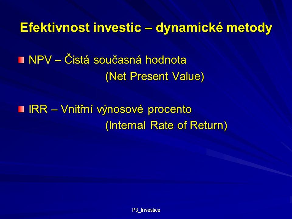Efektivnost investic – dynamické metody