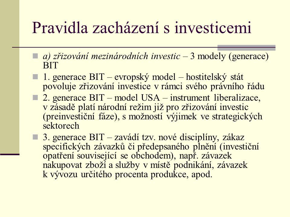 Pravidla zacházení s investicemi