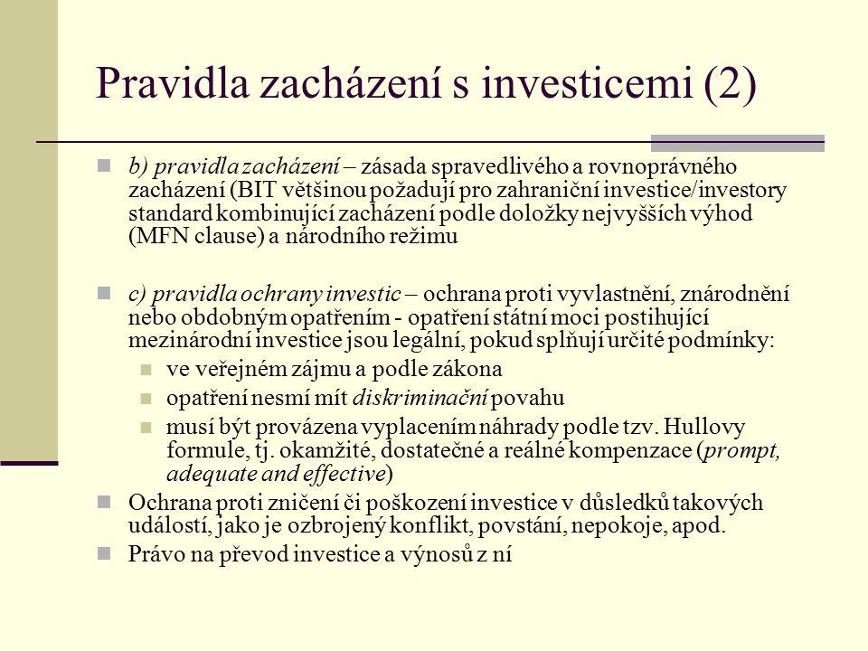 Pravidla zacházení s investicemi (2)