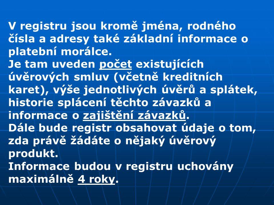 V registru jsou kromě jména, rodného čísla a adresy také základní informace o platební morálce.