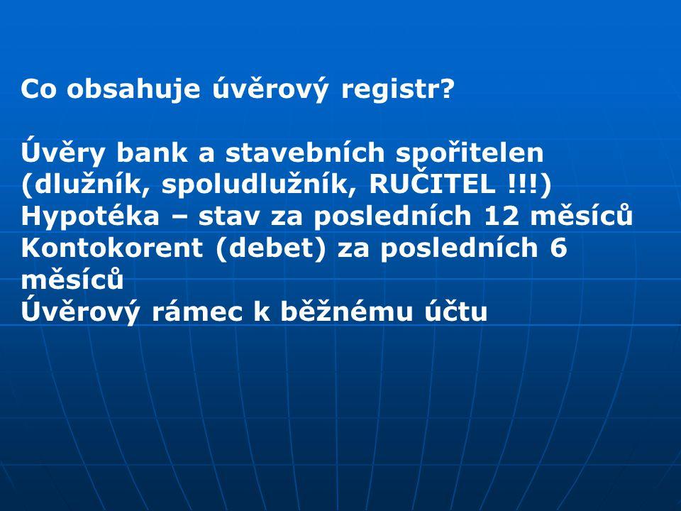 Co obsahuje úvěrový registr