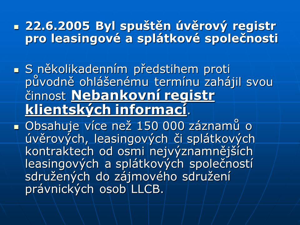 22.6.2005 Byl spuštěn úvěrový registr pro leasingové a splátkové společnosti