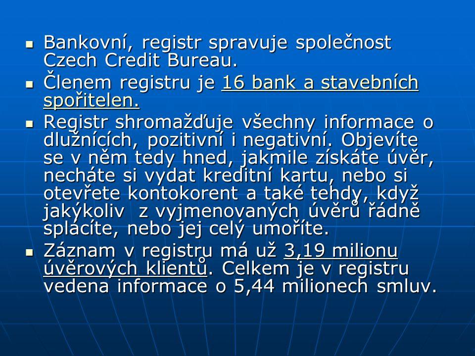 Bankovní, registr spravuje společnost Czech Credit Bureau.