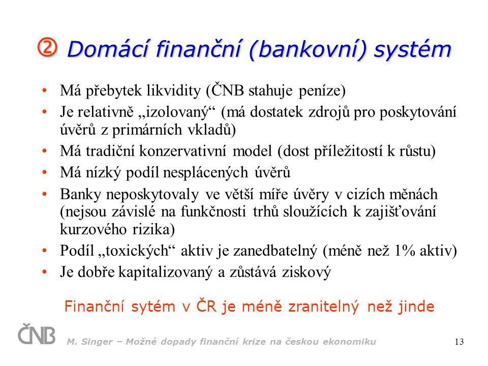  Domácí finanční (bankovní) systém