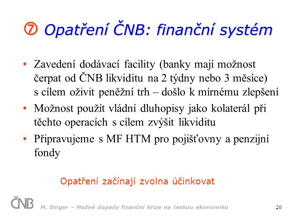  Opatření ČNB: finanční systém