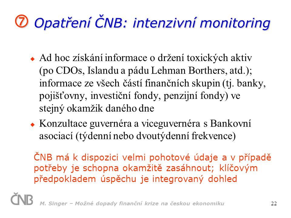  Opatření ČNB: intenzivní monitoring