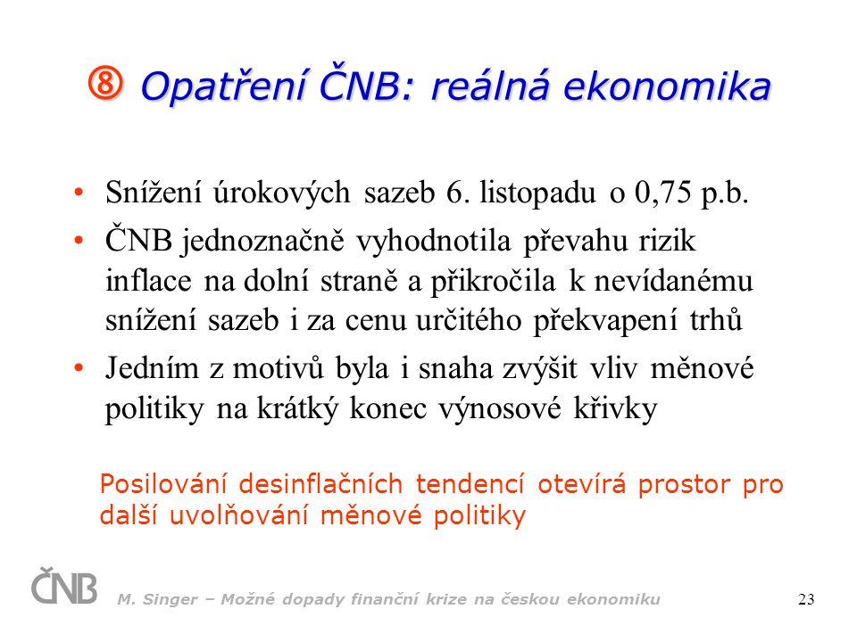 Opatření ČNB: reálná ekonomika