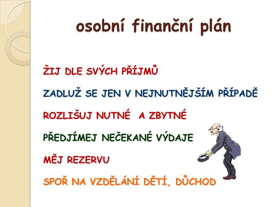 osobní finanční plán ŽIJ DLE SVÝCH PŘÍJMŮ