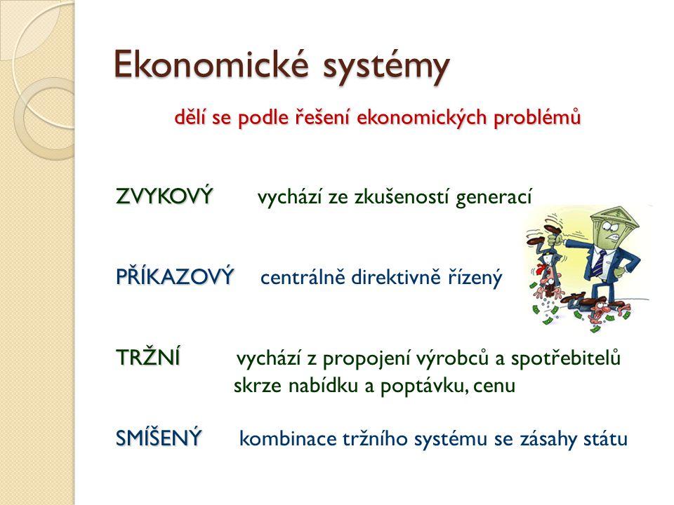 Ekonomické systémy dělí se podle řešení ekonomických problémů