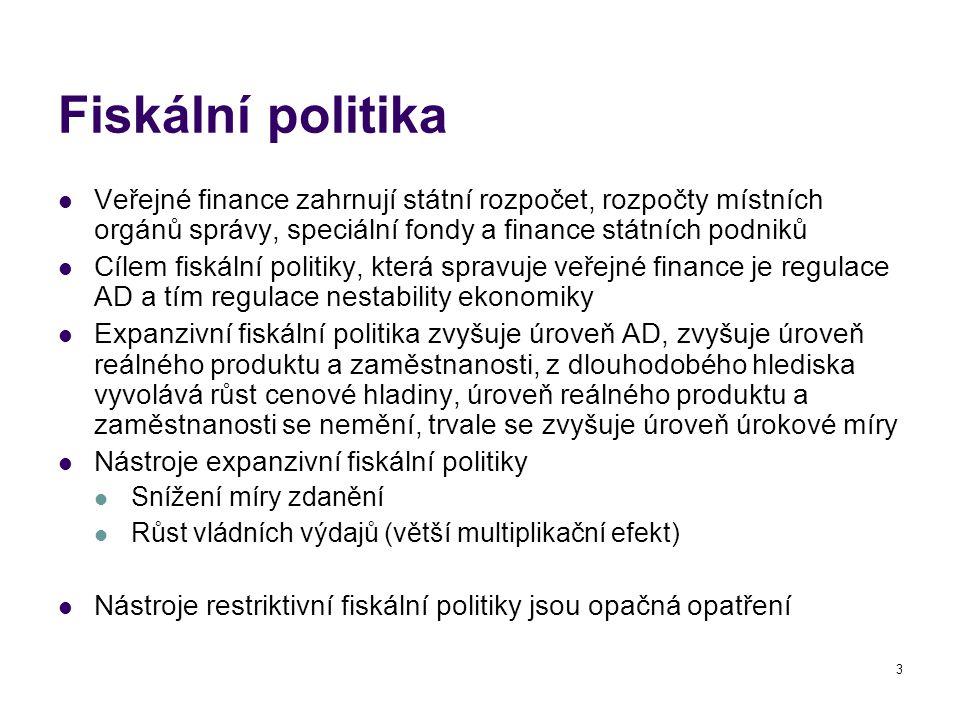 Fiskální politika Veřejné finance zahrnují státní rozpočet, rozpočty místních orgánů správy, speciální fondy a finance státních podniků.