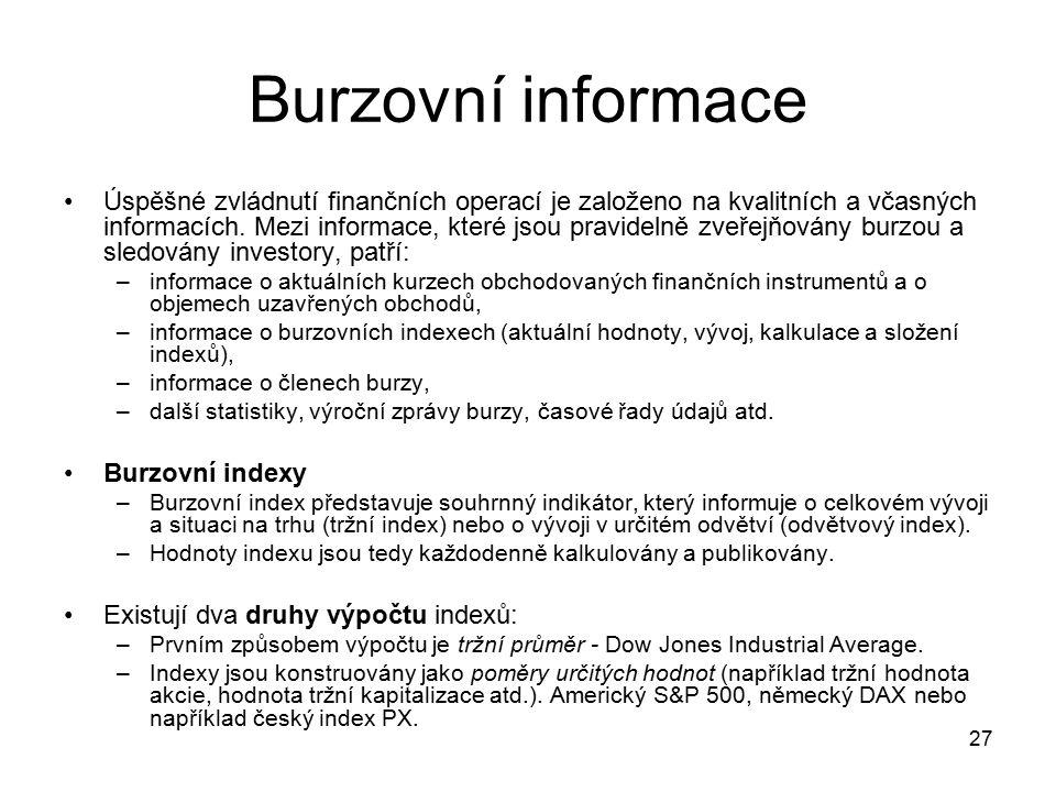 Burzovní informace
