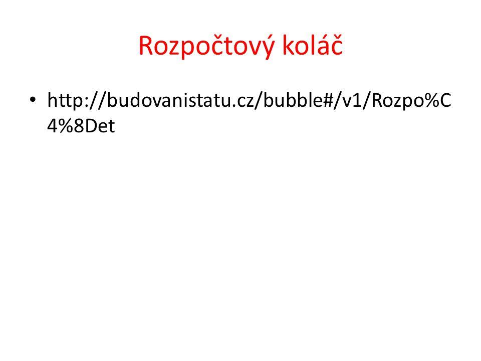 Rozpočtový koláč http://budovanistatu.cz/bubble#/v1/Rozpo%C4%8Det