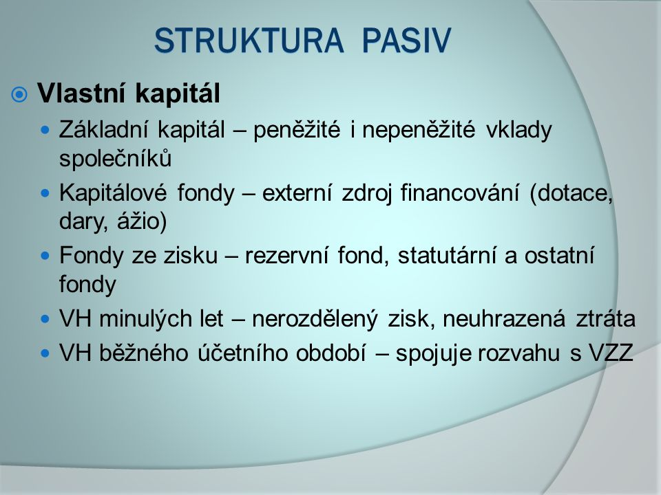 STRUKTURA pasiv Vlastní kapitál