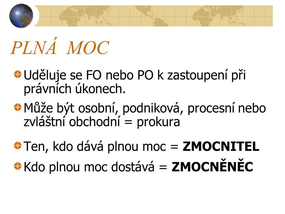 PLNÁ MOC Uděluje se FO nebo PO k zastoupení při právních úkonech.