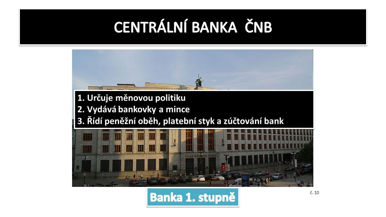 CENTRÁLNÍ BANKA ČNB Banka 1. stupně 1. Určuje měnovou politiku