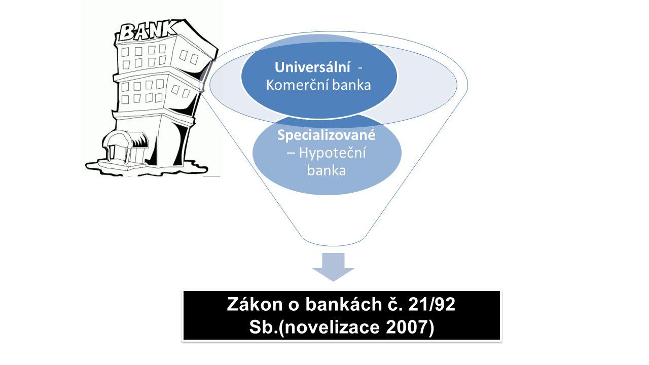 Zákon o bankách č. 21/92 Sb.(novelizace 2007)