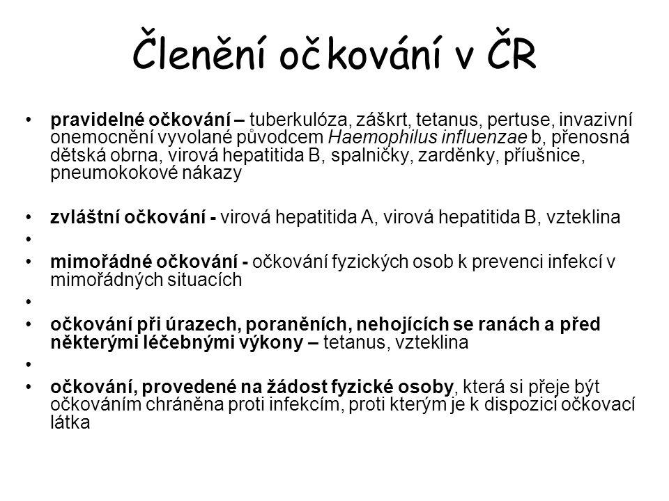 Členění očkování v ČR