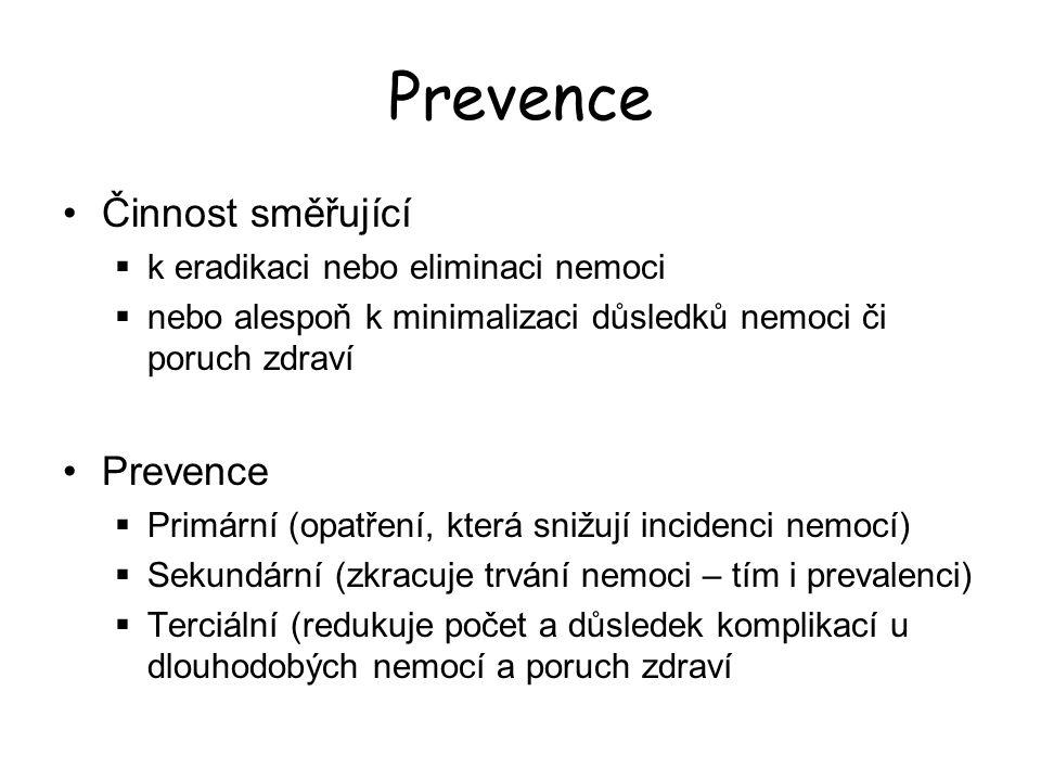 Prevence Činnost směřující Prevence k eradikaci nebo eliminaci nemoci