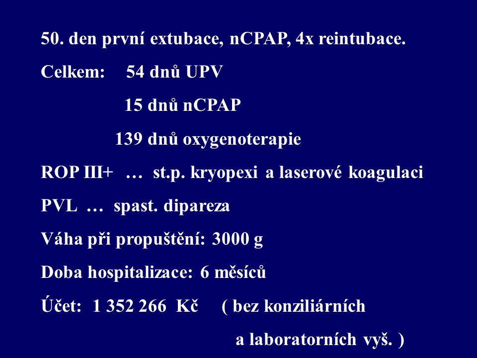 50. den první extubace, nCPAP, 4x reintubace.