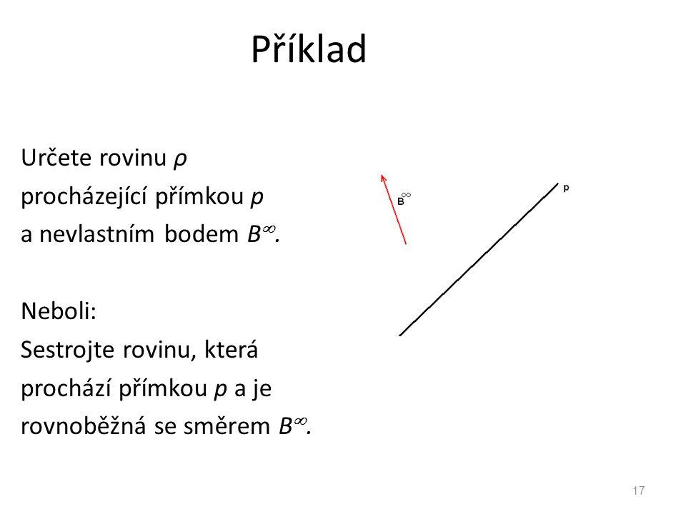 Příklad Určete rovinu ρ procházející přímkou p a nevlastním bodem B.