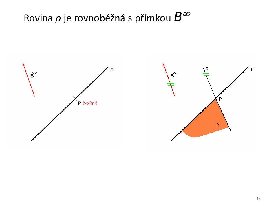 Rovina ρ je rovnoběžná s přímkou B