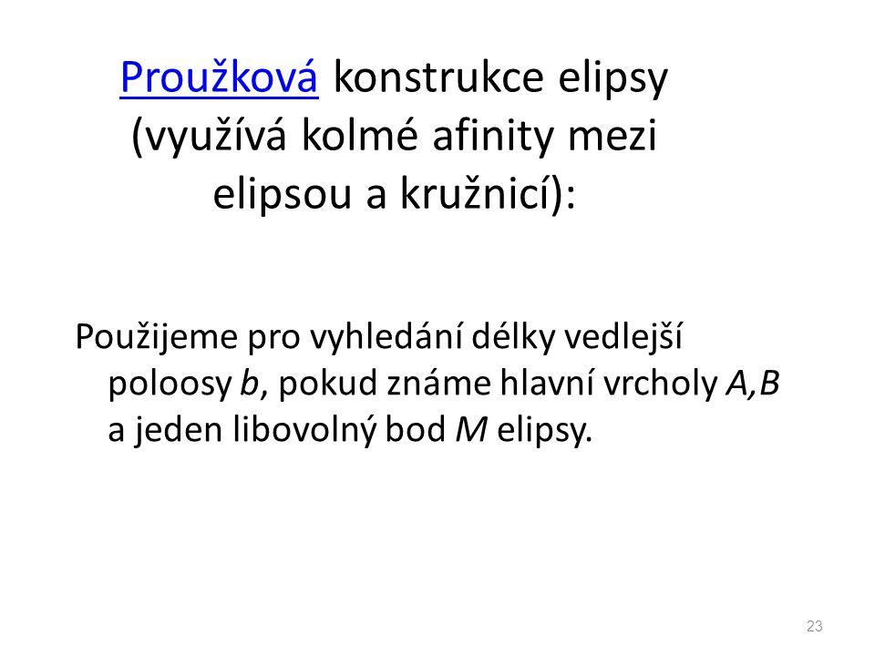 Proužková konstrukce elipsy (využívá kolmé afinity mezi elipsou a kružnicí):